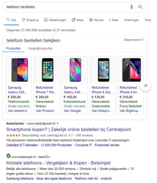Google Ads zoekresultaat