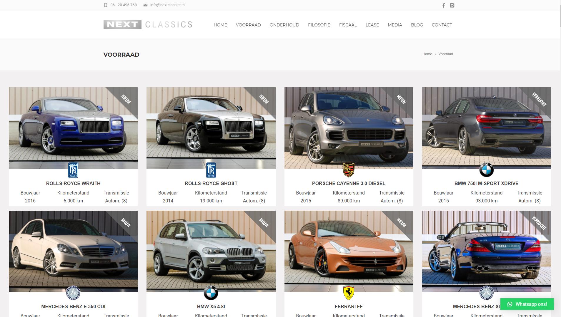 NextClassics WooCommerce autooverzicht door SEO vrienden